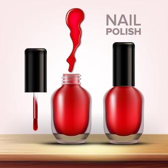 Bottiglia di smalto rosso cosmetici femminili