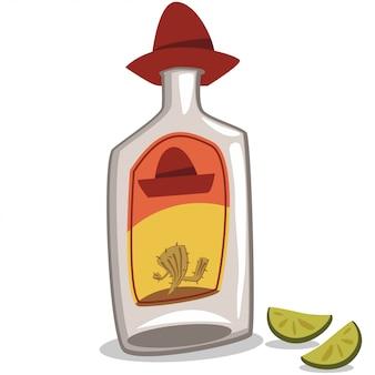 Bottiglia di tequila in un sombrero e due pezzi di lime