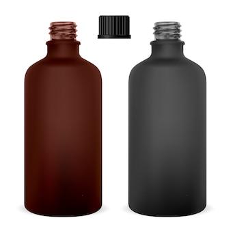 Bottiglia di vetro ambrata medica. contenitore di supplemento