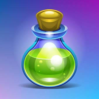 Bottiglia di vetro chimica riempita con una pozione liquida verde.