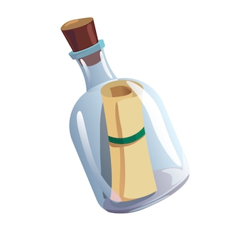 Bottiglia di vetro con sughero e pergamena antica scorrere all'interno isolato su bianco. messaggio segreto su un foglio di carta, misteriosa lettera del naufrago. illustrazione variopinta del fumetto piatto.