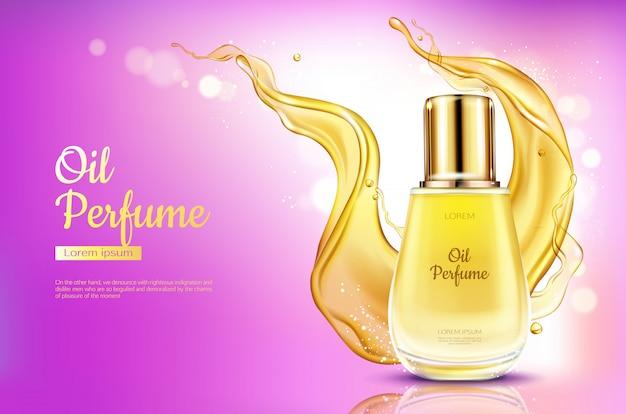 Bottiglia di vetro del profumo dell'olio con spruzzata liquida gialla sul fondo rosa di pendenza.