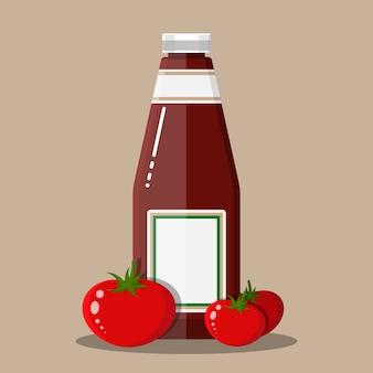 Bottiglia di vetro di ketchup di pomodoro tradizionale