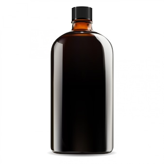 Bottiglia di vetro marrone. vaso di sciroppo cosmetico e medico