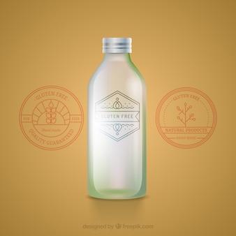 Bottiglia di vetro organico con etichetta