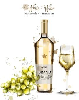 Bottiglia di vino bianco e acquerello di vetro