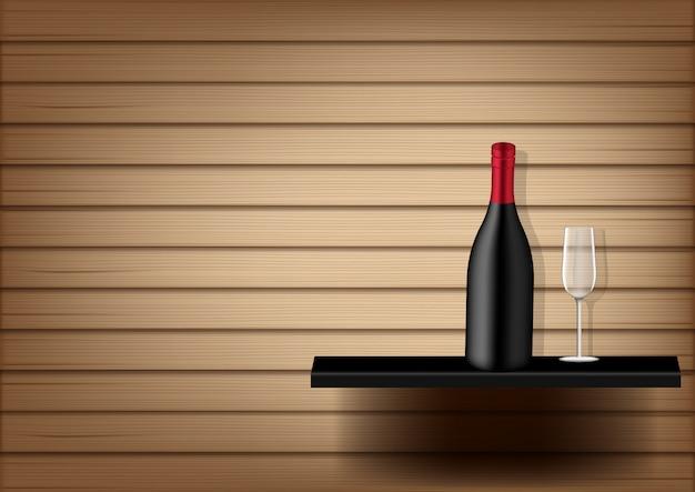 Bottiglia di vino e vetro