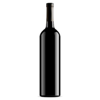 Bottiglia di vino in vetro nero. vettore. senza etichetta