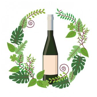 Bottiglia di vino sulla corona