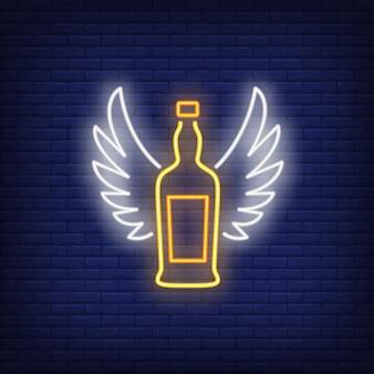 Bottiglia di whiskey con ali d'angelo al neon