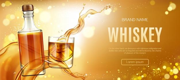 Bottiglia di whisky e vetro con banner di cubetti di ghiaccio