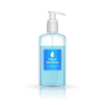 Bottiglia disinfettante per le mani con stile realistico pompa