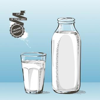 Bottiglia e bicchiere con schizzo di vettore di latte