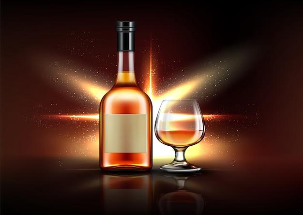 Bottiglia e bicchiere di brandy