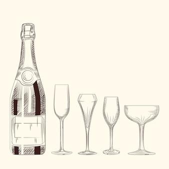 Bottiglia e bicchiere di champagne disegnati a mano. stile di incisione su sfondo bianco.