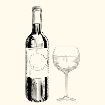 Bottiglia e bicchiere di vino disegnati a mano. stile incisione. oggetti isolati.