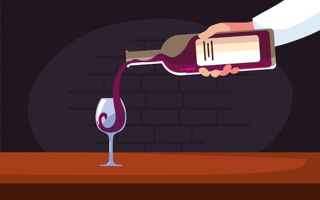 Bottiglia e tazza di vino