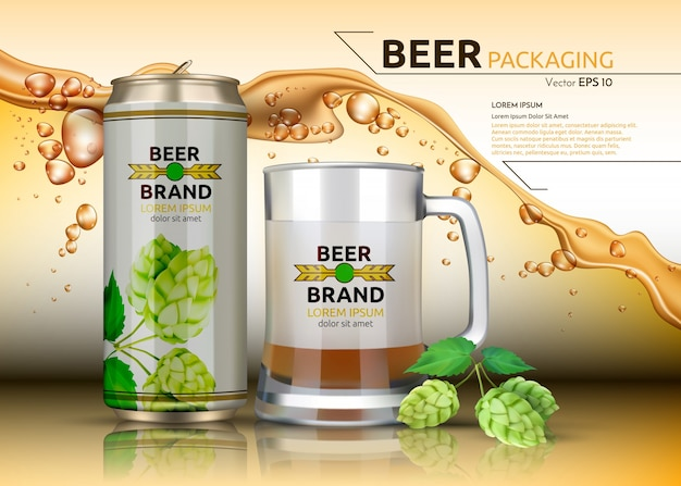 Bottiglia e vetro metallici realistici della birra. modello di imballaggio del marchio. disegni logo splash birra sullo sfondo