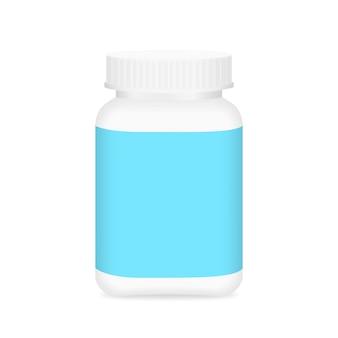 Bottiglia in bianco bianca della medicina ed etichetta blu per progettazione di imballaggio