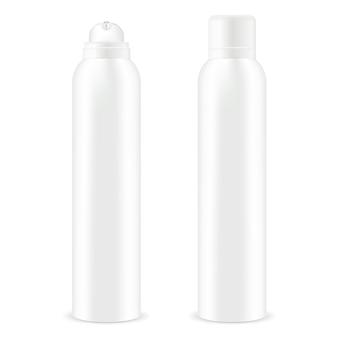 Bottiglia in metallo spray aerosol con coperchio. deodorante