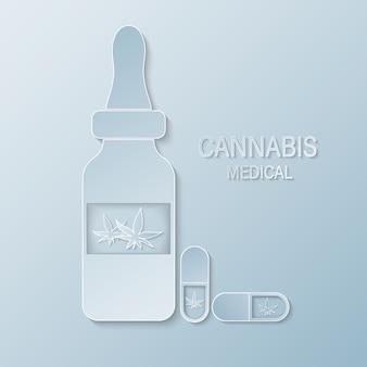 Bottiglia medica tagliata con etichetta foglia di marijuana o cannabis. estratti di olio di cannabis in barattoli