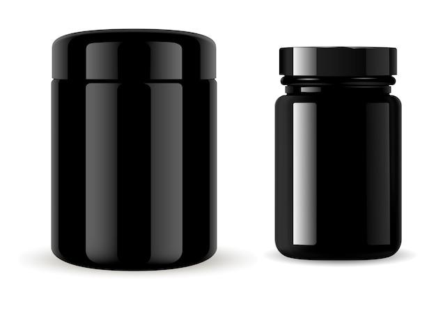 Bottiglia nera prodotto di supplemento di medicina