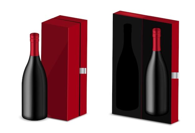 Bottiglia nera realistica dell'alcool del vino con la scatola rossa