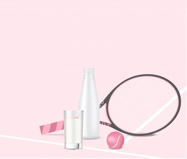 Bottiglia per il latte 3d realistica o shaker con vetro, racchetta e pallina da tennis
