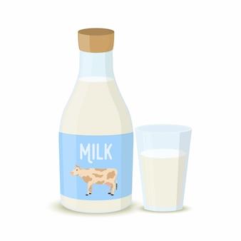 Bottiglia per il latte con illustrazione di vetro