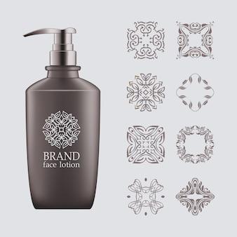 Bottiglia realistica di grigio scuro 3d