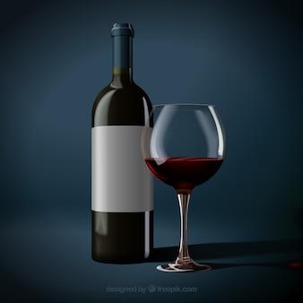 Bottiglia realistica e bicchiere di vino rosso