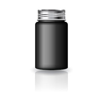 Bottiglia rotonda nera per medicina con coperchio a vite argentato.