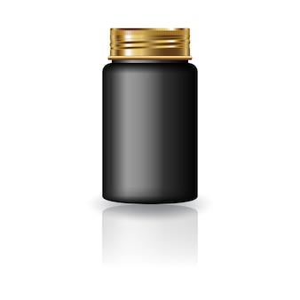 Bottiglia rotonda nera per medicina con coperchio a vite dorato.