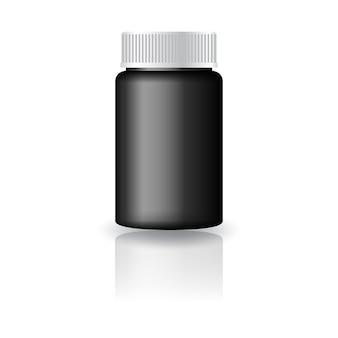 Bottiglia rotonda nera per medicina con coperchio bianco scanalato.