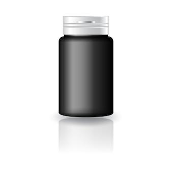 Bottiglia rotonda nera per medicina con coperchio bianco.