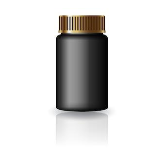 Bottiglia rotonda nera per medicina con coperchio scanalato dorato.