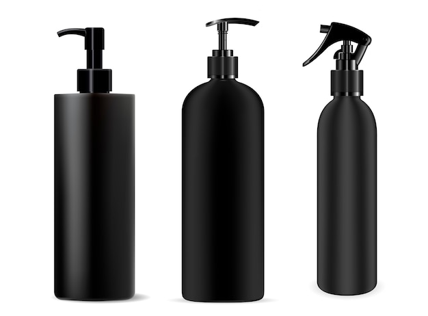 Bottiglia spray nero. dispenser cosmetico