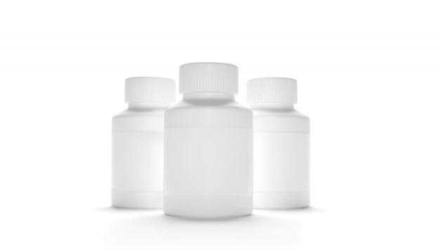 Bottiglia vuota di imballaggio in plastica con tappo per pillole isolato. integratori bio o vitamine. bottiglia di plastica realistica. modello. medicina, compresse, pillole.