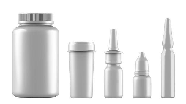 Bottiglie bianche realistiche per farmaci, compresse, gocce e spray ecc. 3d contenitori medici in bianco di plastica isolati