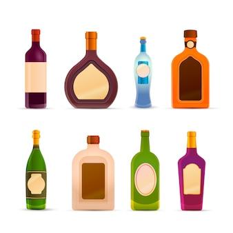 Bottiglie con alcool su bianco