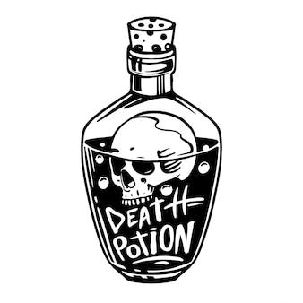 Bottiglie con pozioni. pozione di veleno e teschio. illustrazione disegnata a mano