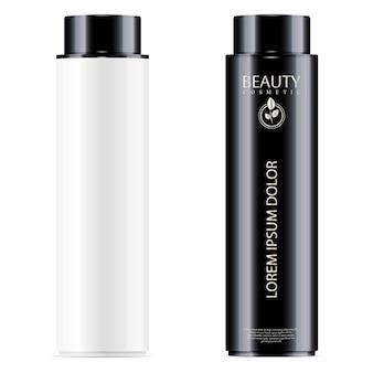 Bottiglie cosmetiche in bianco e nero per toner facciale, shampoo per capelli o gel doccia.