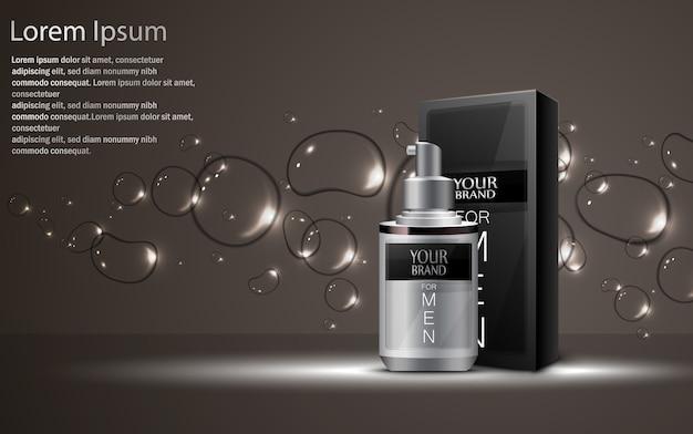 Bottiglie cosmetiche realistiche con confezione