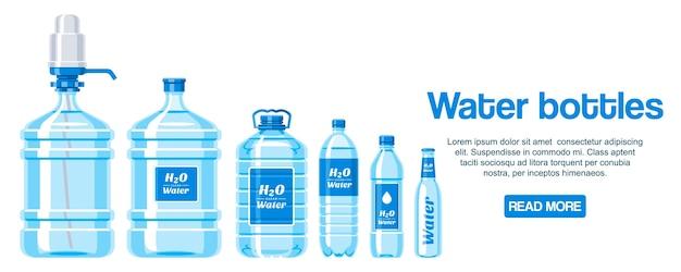 Bottiglie d'acqua fatte di banner di plastica