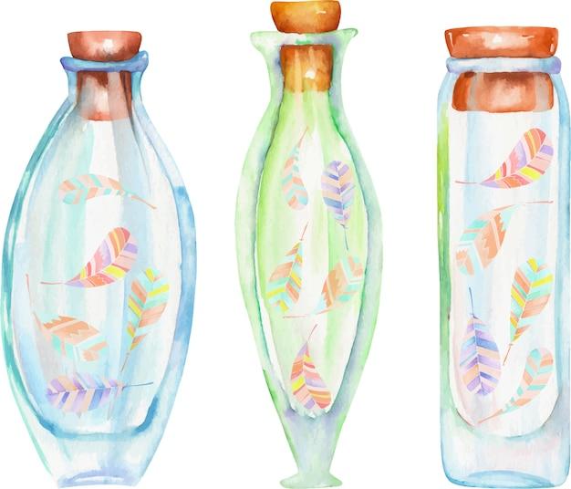 Bottiglie dell'acquerello con piume di boho all'interno