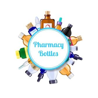 Bottiglie della medicina della farmacia sotto il cerchio con il posto per l'illustrazione del testo