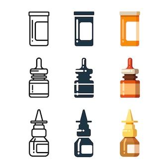 Bottiglie della medicina e scatola per la linea di pillole