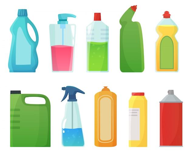 Bottiglie detergenti. illustrazione del fumetto dei prodotti dei rifornimenti di pulizia, della bottiglia della candeggina e dei contenitori dei detersivi di plastica