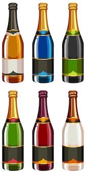 Bottiglie di champagne in diverse etichette