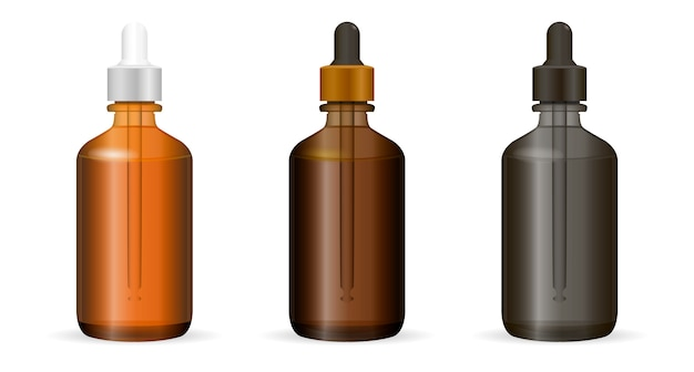 Bottiglie di contagocce set per cosmetici o necessità di medicina